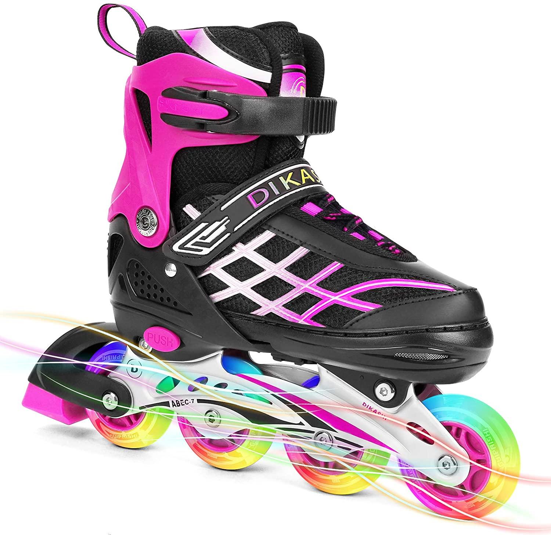 SKL Adjustable Inline Skates for Kids with Light Up Wheels